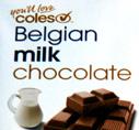 Coles Belgian milk chocolate title