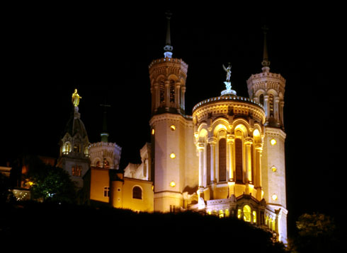 Lyon Basilica by night