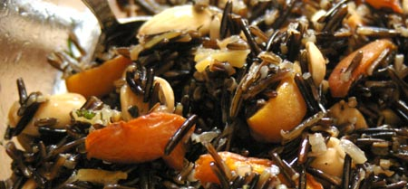Wild rice, apricot, lemon and almond salad