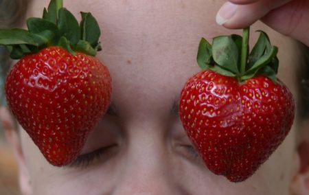Strawberries like eyesockets!