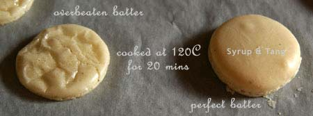 good and bad macarons - low temperature